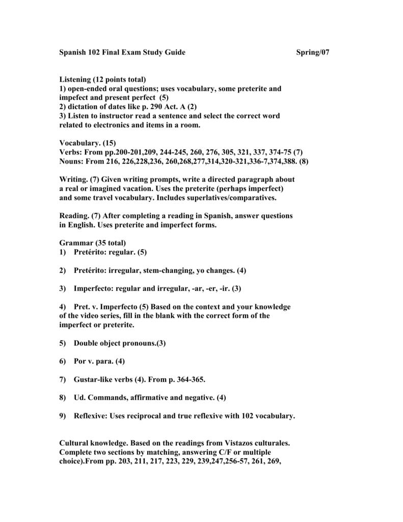 Spanish 102 Final Exam Study Guide