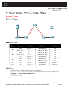 CCNA Security PT Activity: Configure IP ACLs to Mitigate Attacks