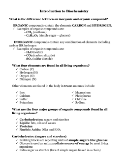Organic Compounds Student Worksheet Teacher Key