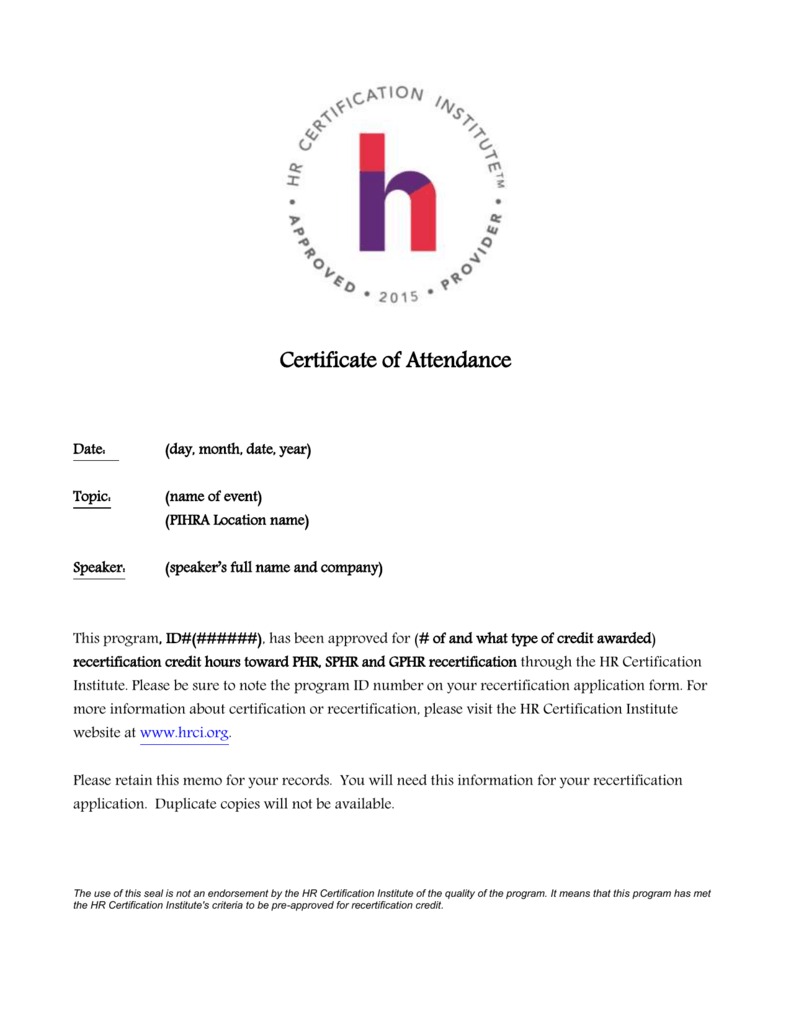 Hrci Certificate Of Attendance