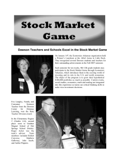 Dawson Teachers and Schools Excel in the Stock Market Game