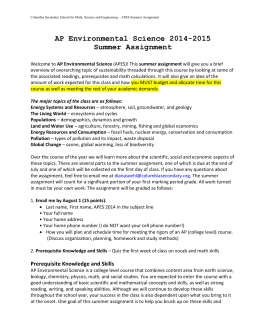 AP US History Summer Assignment: 2013-2014 School Year