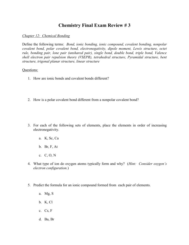 Chemistry Final Exam Review # 3