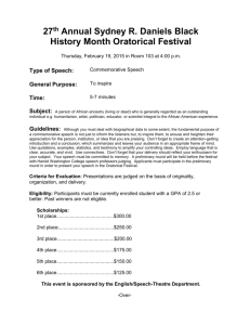 Entry Form for Sydney R. Daniels Black History Month Oratorical