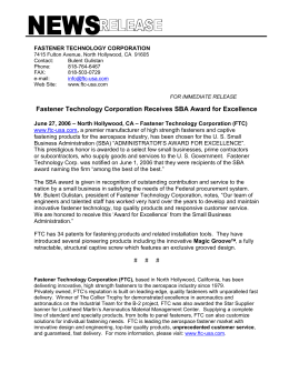 for immediate release - Fastener Technology Corp.