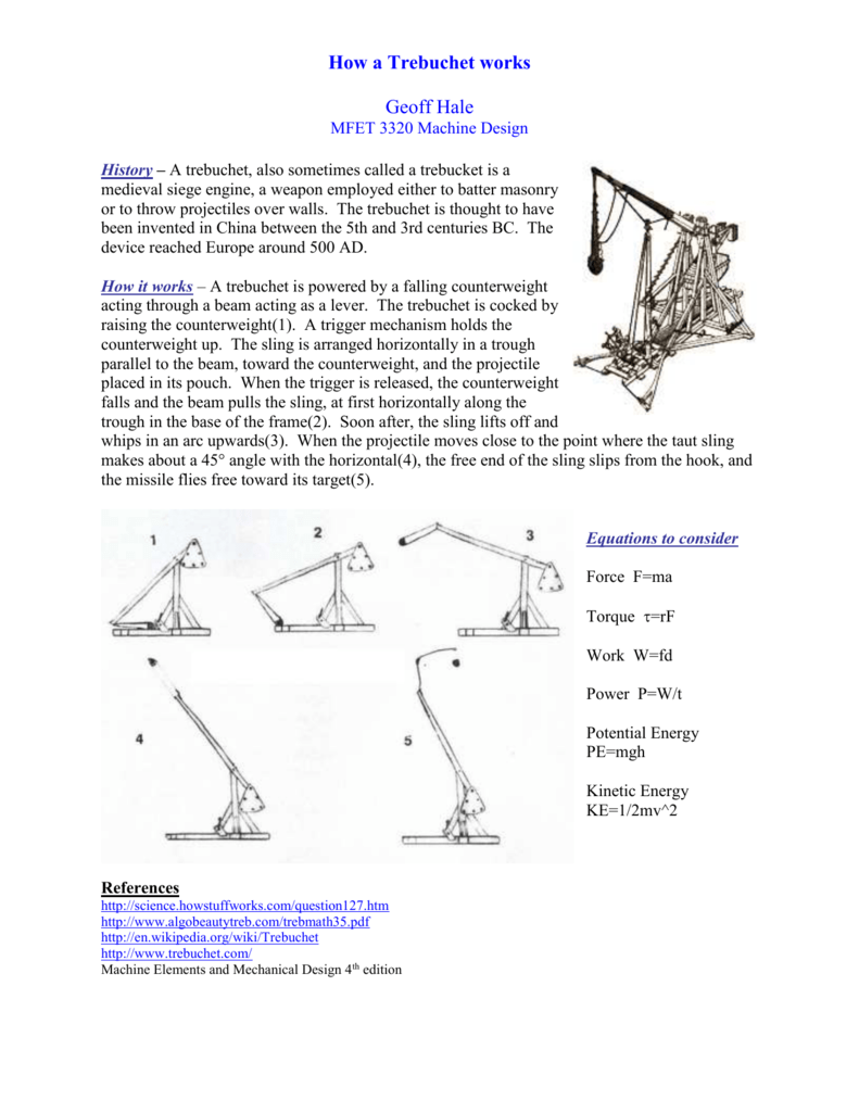 History A Trebuchet Also Sometimes Called Trebucket Is Diagram Of Our