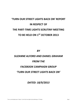 'turn our street lights back on' report