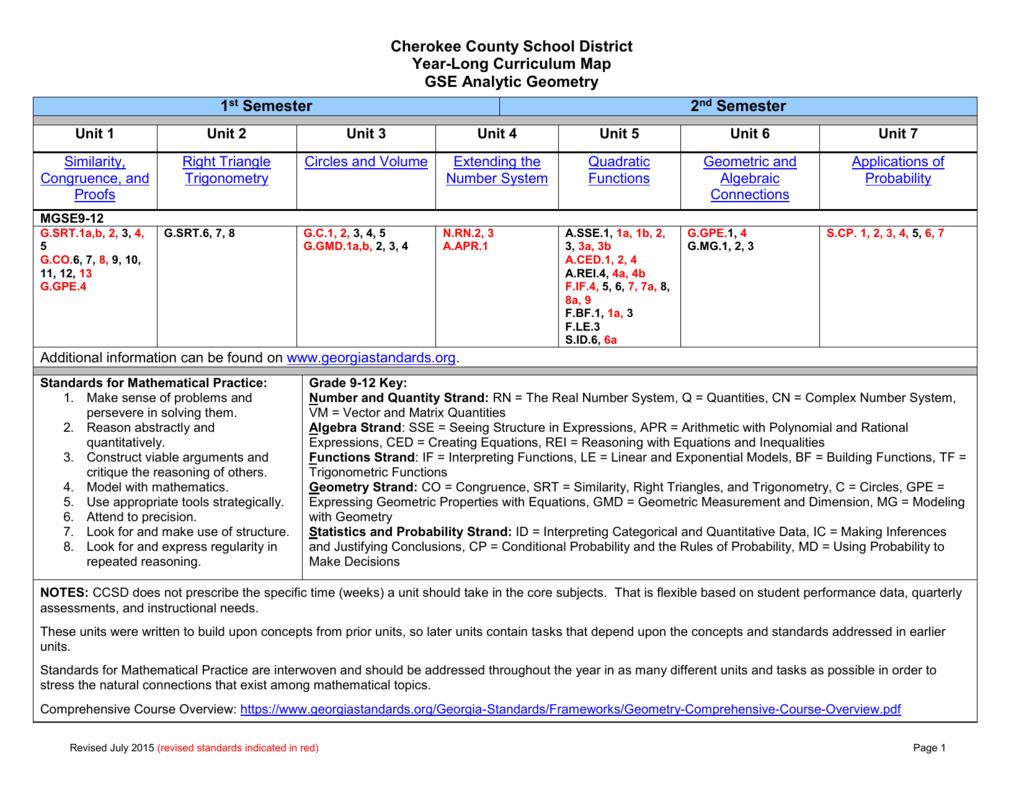 gse analytic geometry year long curriculum map unit guides rh studylib net