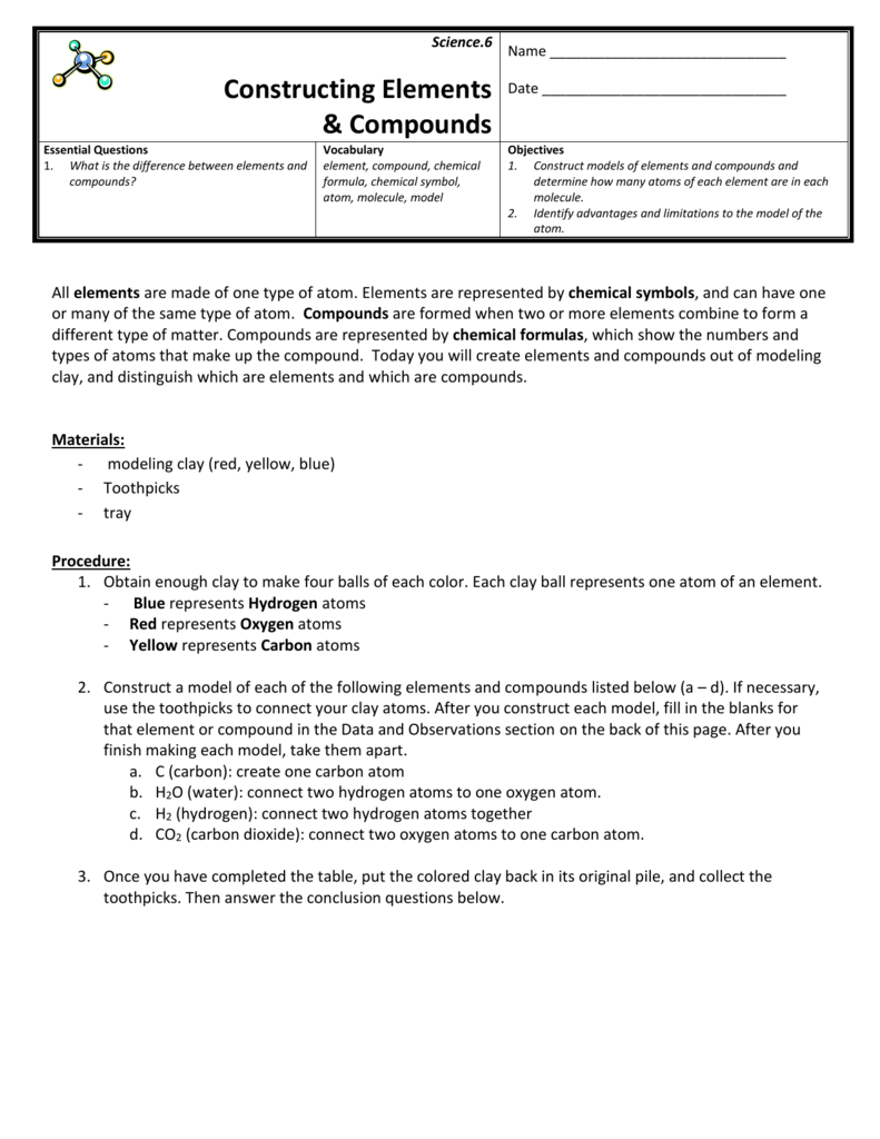 worksheet Bill Nye Atoms And Molecules Worksheet constructing elements and compounds