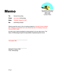 Memo Missing Receipts Example