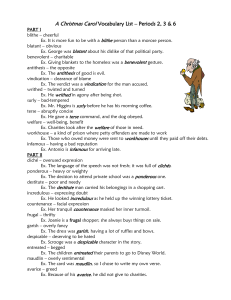 A Christmas Carol Vocabulary List – Periods 1 & 2