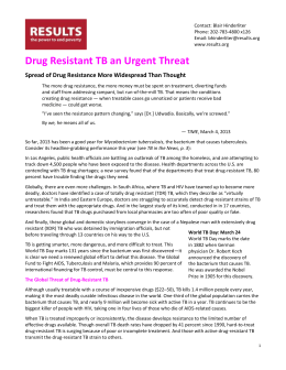 Drug Resistant TB Is an Urgent Threat