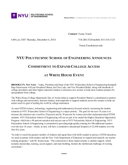 NYU Polytechnic School of Engineering Announces