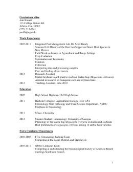 Curriculum Vitae - Entomological Society of America