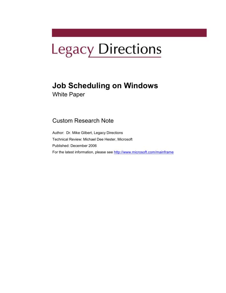 Job Scheduling on Windows - Platform Modernization Alliance
