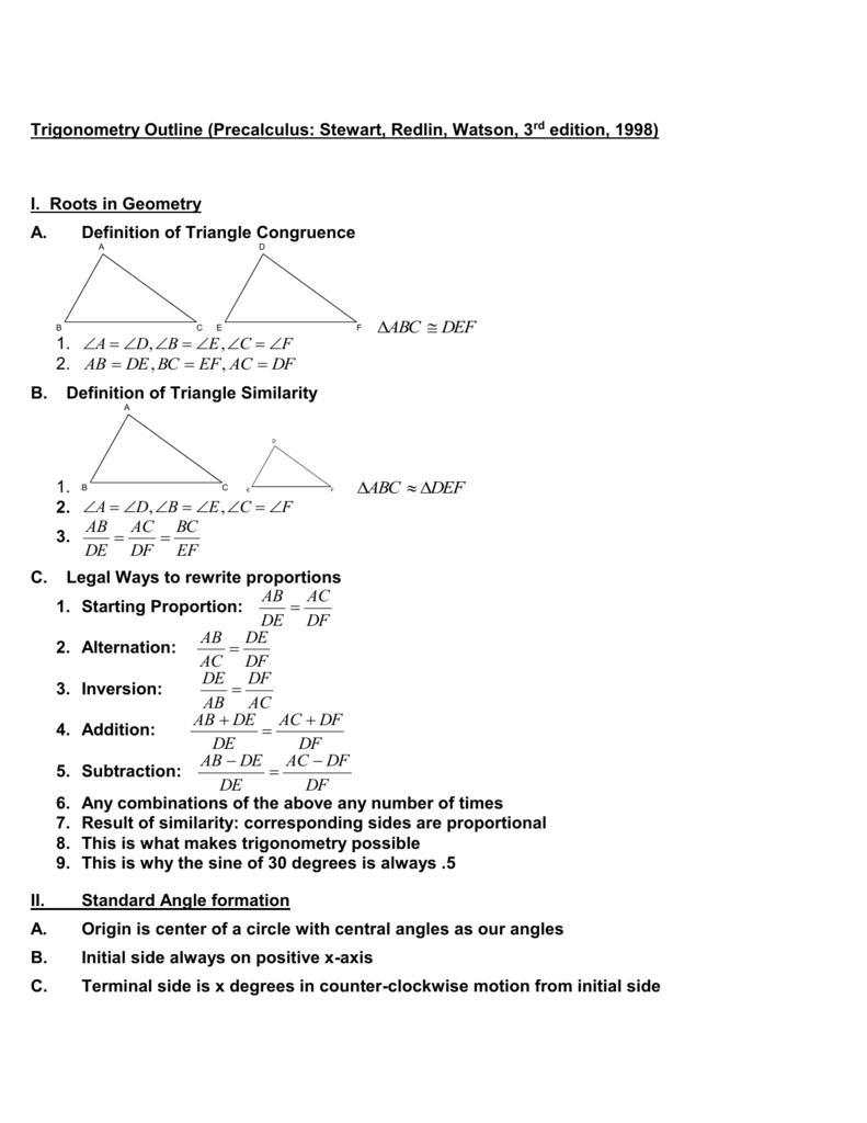 Outline for Teaching Trigonometry