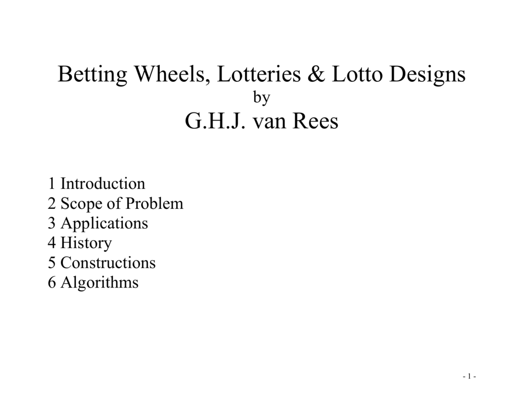 Betting Wheels, Lotteries & Lotto Designs