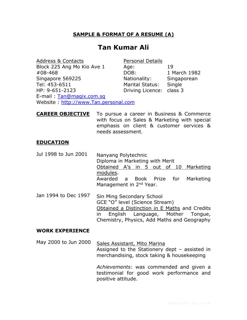 sample & format of a resume