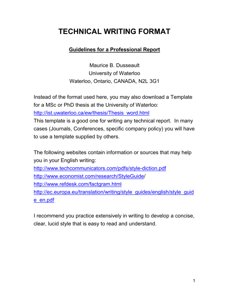 Professional Report Writing Format - School of Engineering