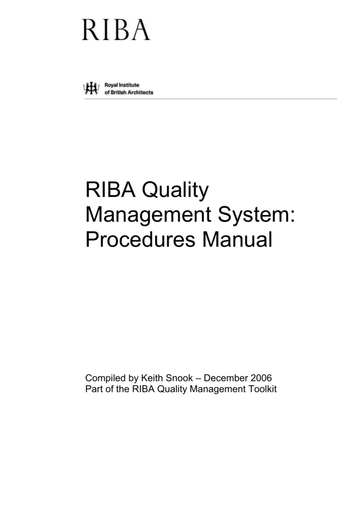 Riba Quality Management Toolkit Royal Institute Of British Architects