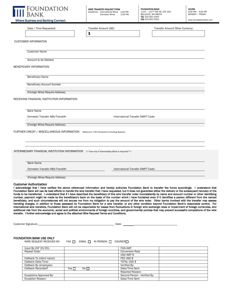 Wire Transfer Request Form