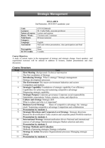 SYLLABUS 2nd Semester, 2014/2015 academic year Code