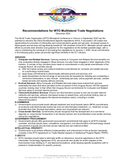Recommendations for WTO Multilateral Trade Negotiations