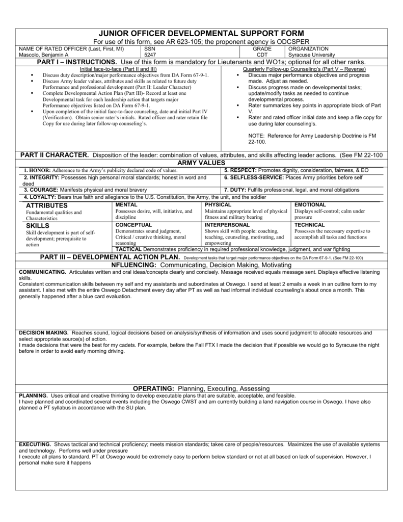 008488281_1-4d8c8e10348a557328adad0284e792ff Officer Evaluation Support Form Example For B on