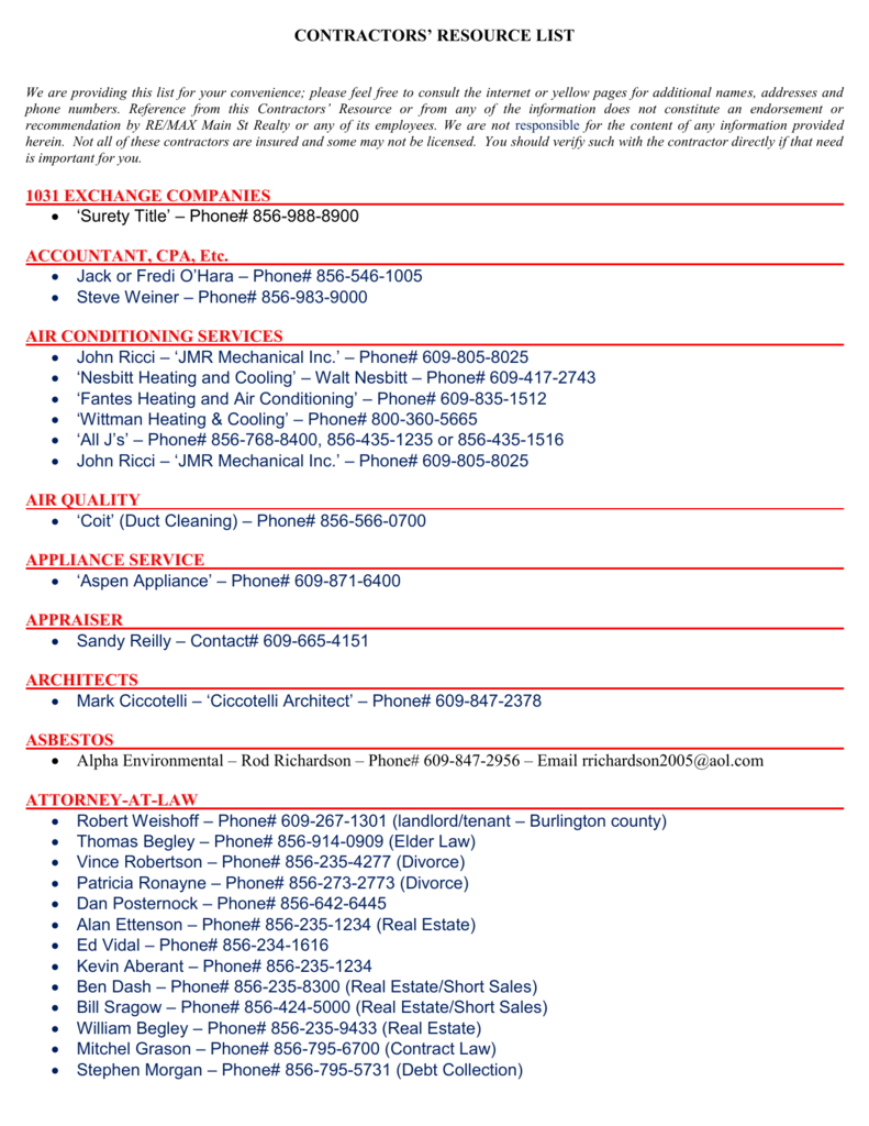 Service/Vendor Directory