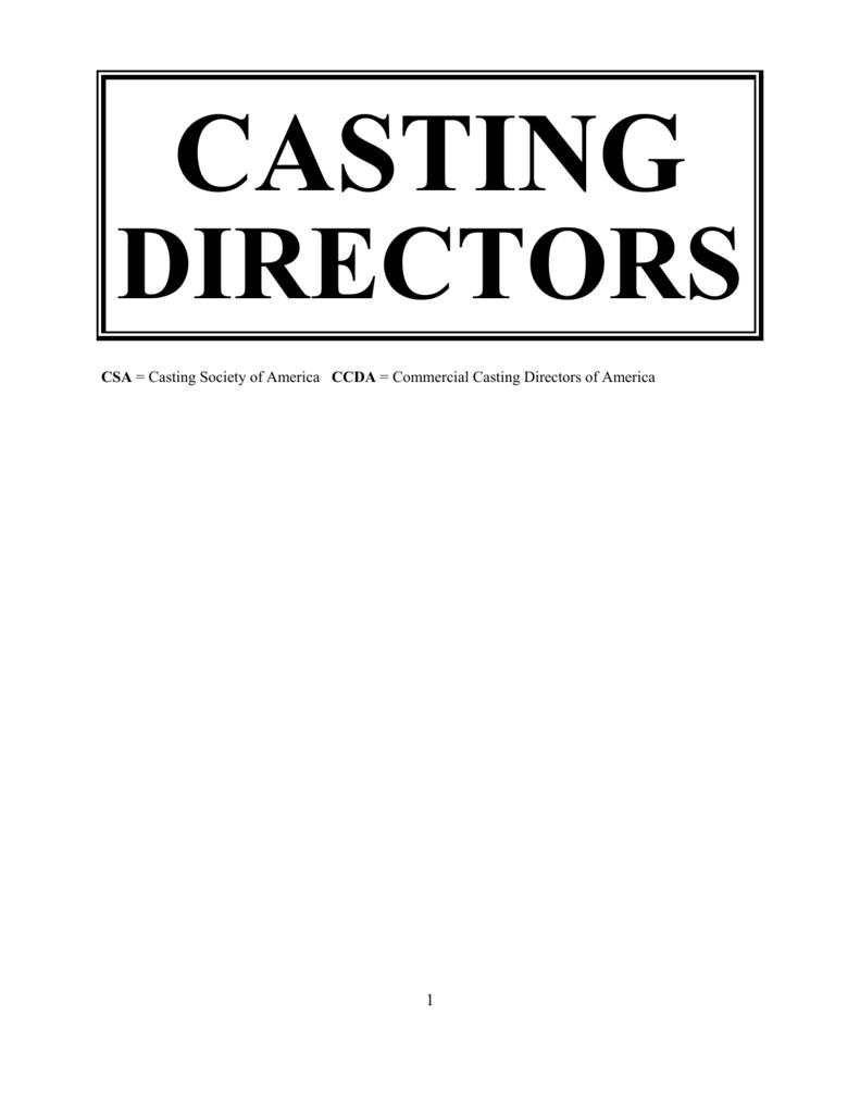 CASTING DIRECTORS and ASSIGNMENTS 6-7