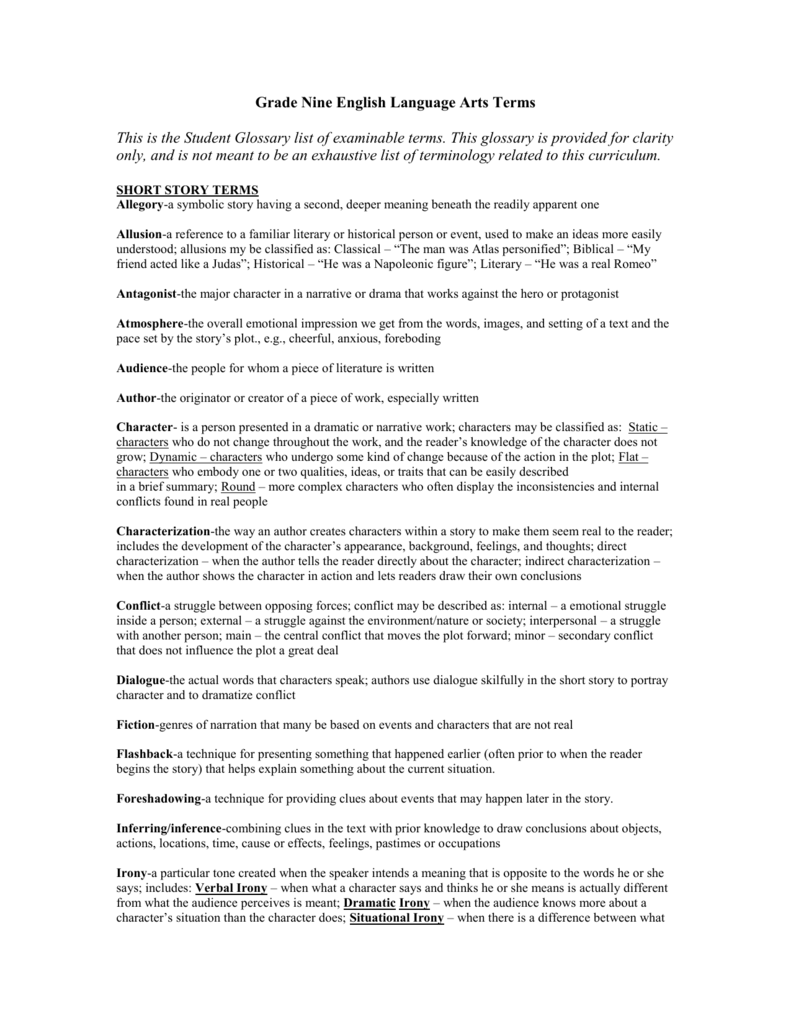 grade nine english language arts: short story terms