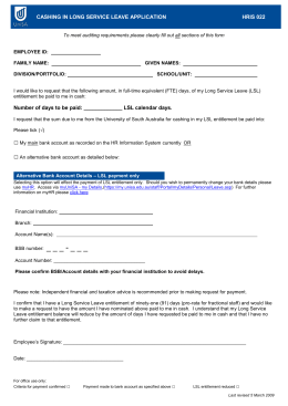 022 Cashing in long service leave application