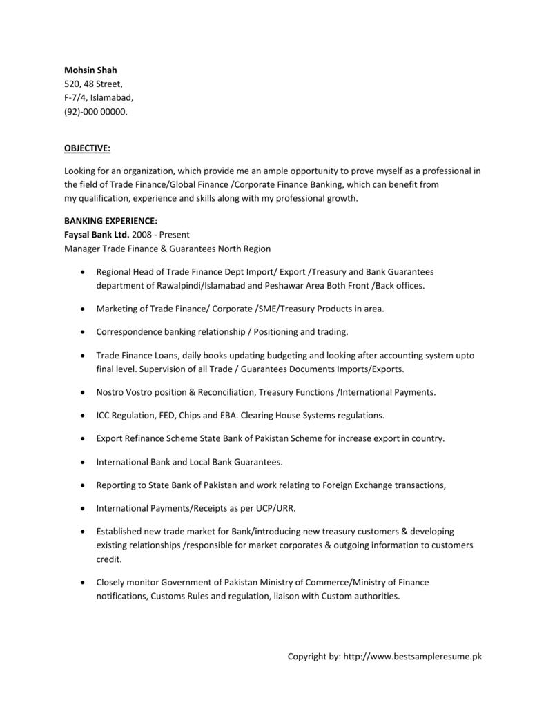 Banking Resume Cv