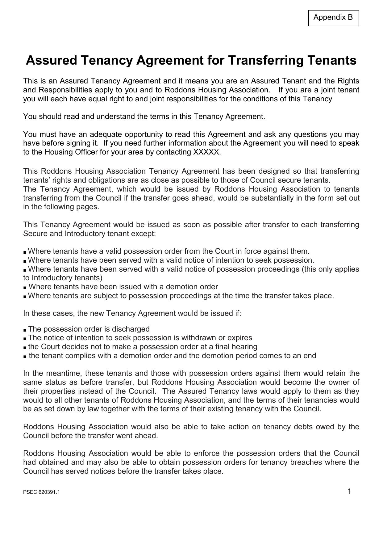 Assured Tenancy Agreement For Transferring Tenants