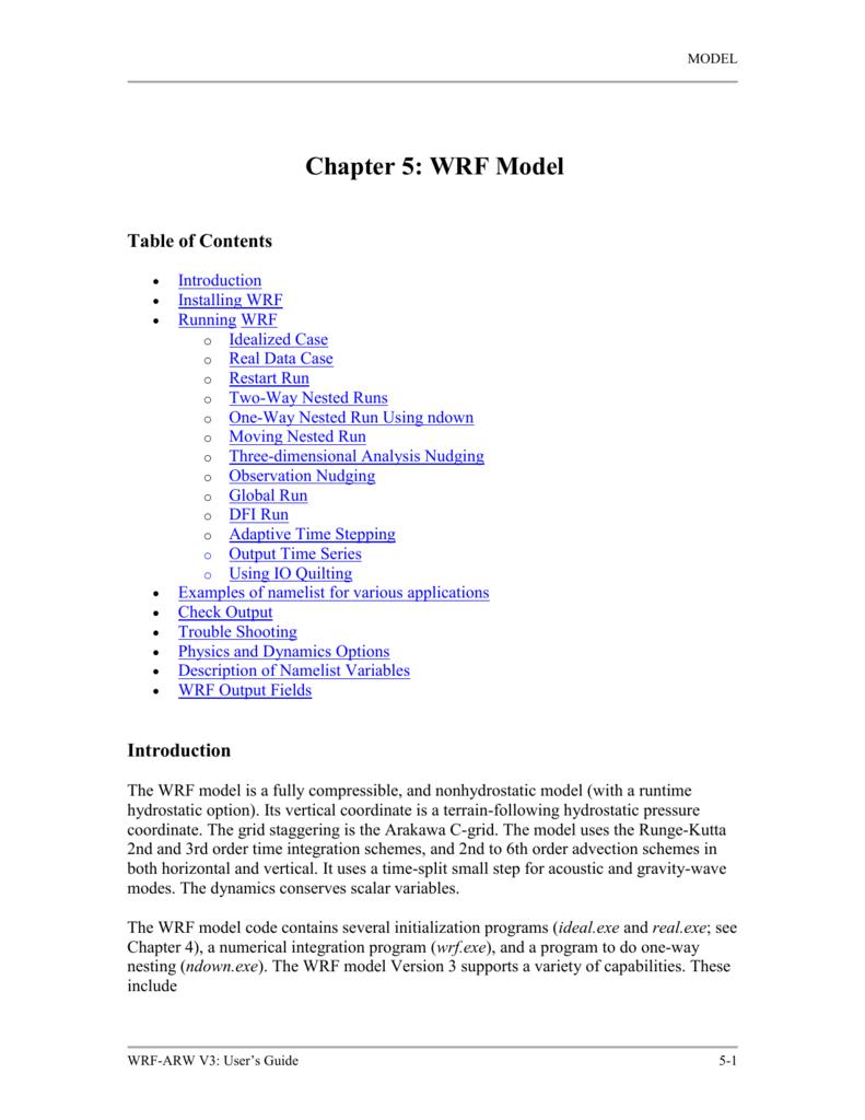Chapter 5: WRF Model