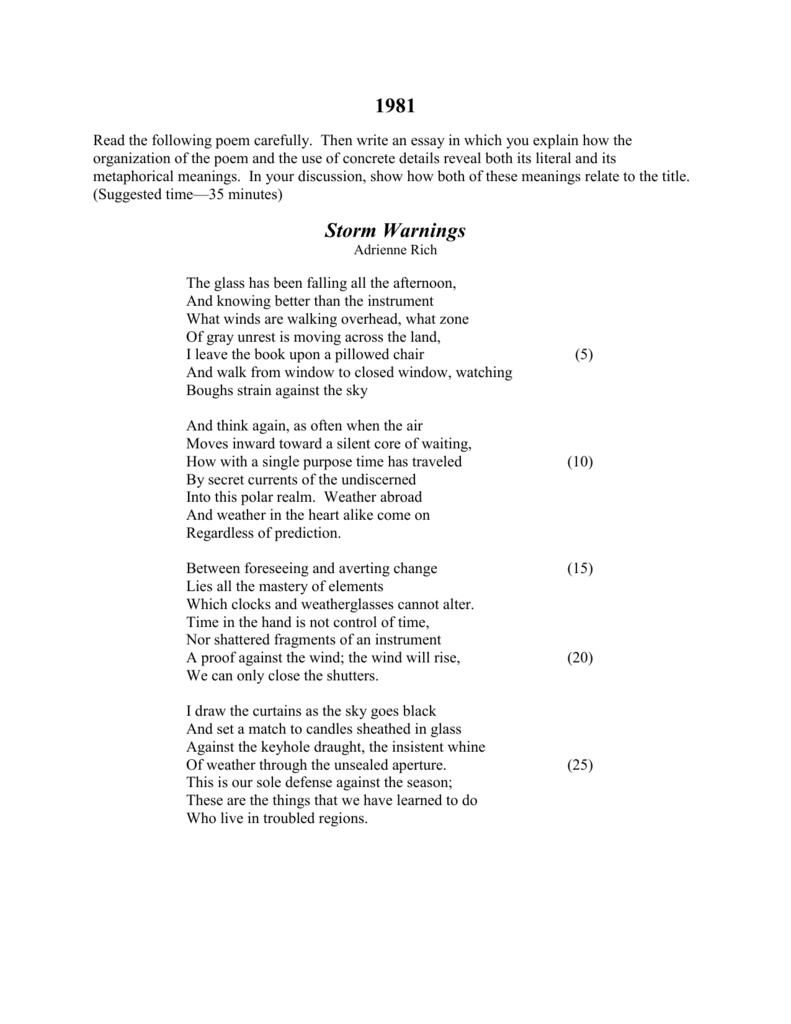 storm warnings poem essay
