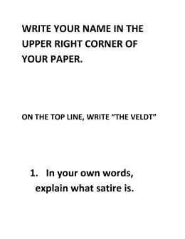 Short Story Elements: Worksheet