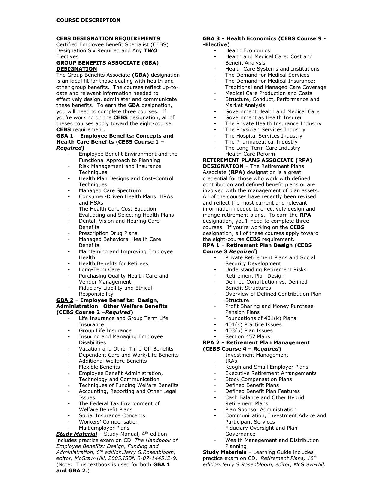 Cebs Designation Requirements