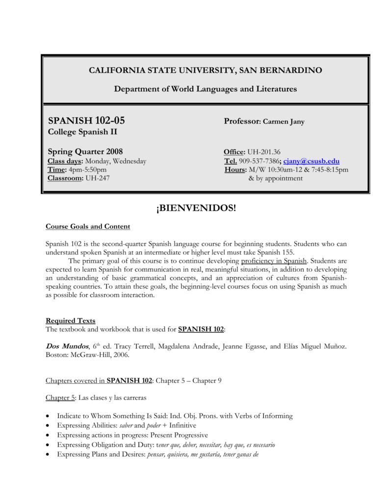 worksheet En El Vecindario Capitulo 2 Worksheet Answers spanish 102 and 150 california state university san bernardino