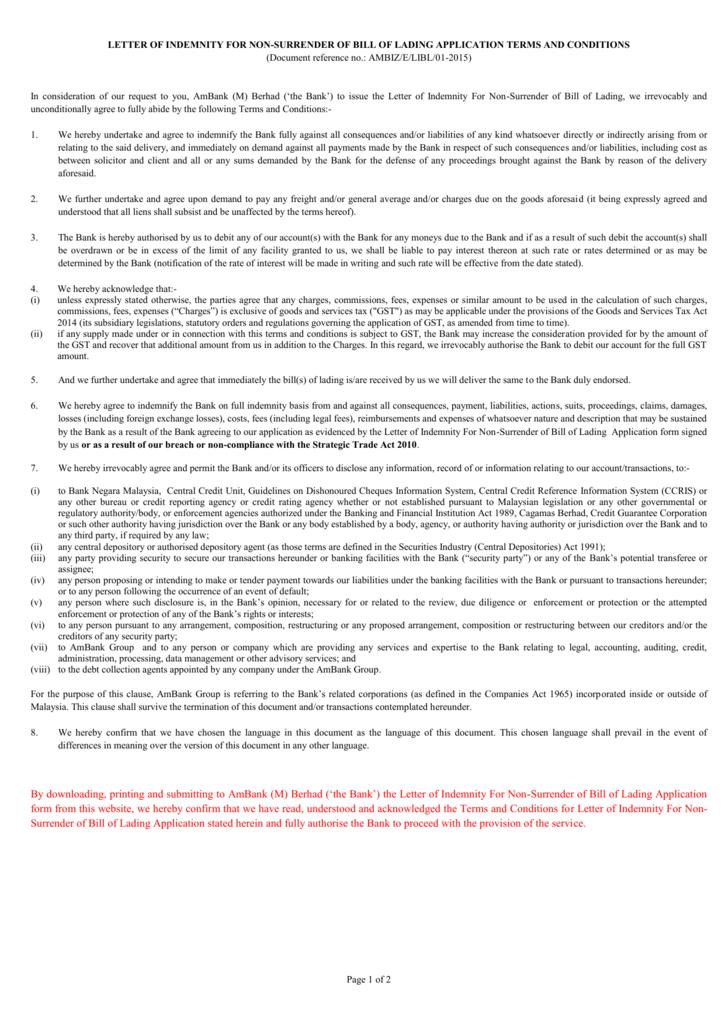 Letter of indemnity for non surrender of bill of lading application altavistaventures Images