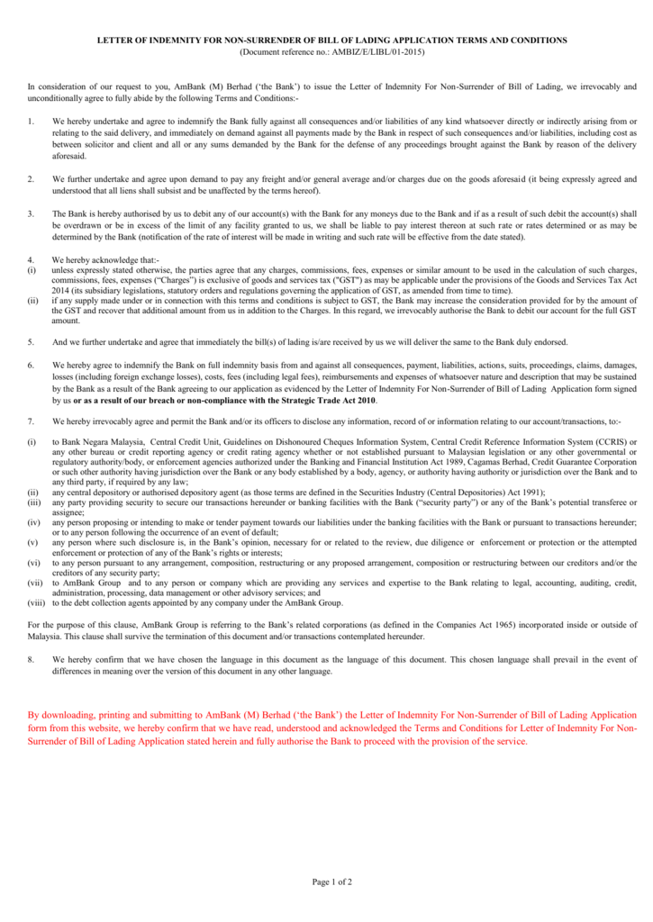 Letter of indemnity for non surrender of bill of lading application altavistaventures Image collections
