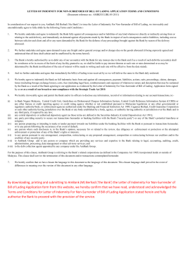 Letter of indemnity for non surrender of bill of lading application letter of indemnity for non surrender of bill of lading altavistaventures Choice Image