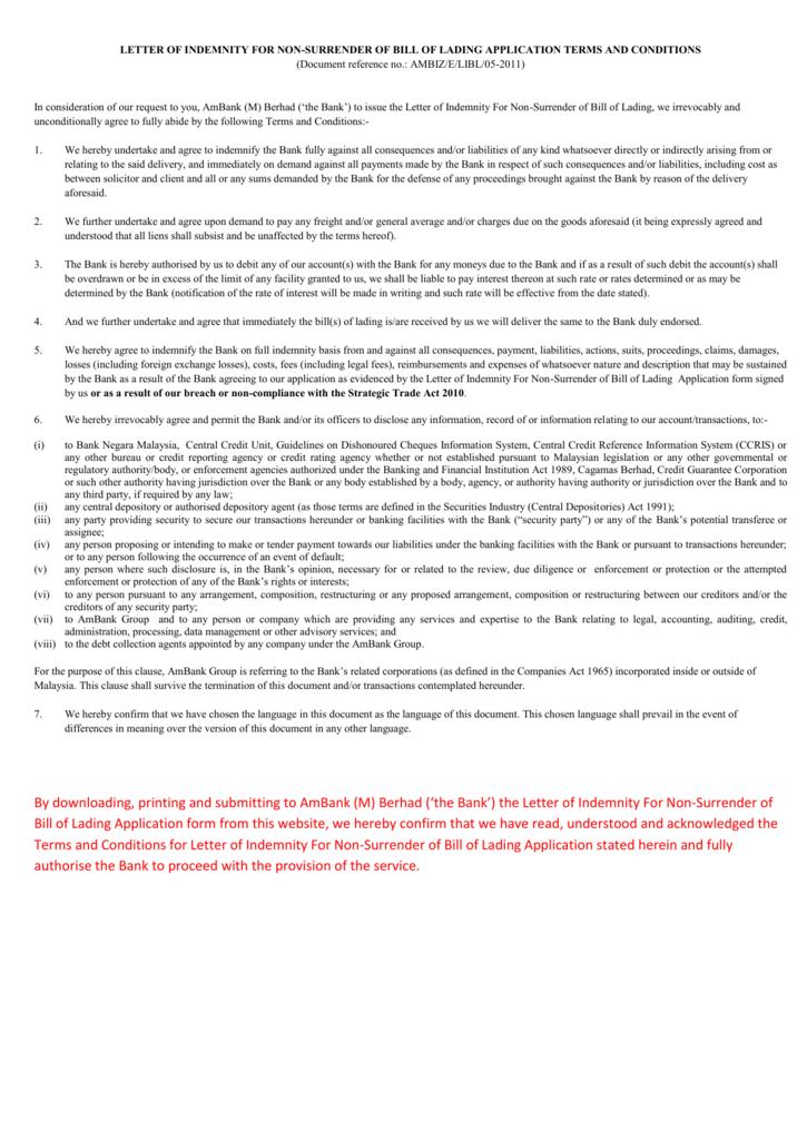 Letter of indemnity for non surrender of bill of lading altavistaventures Gallery