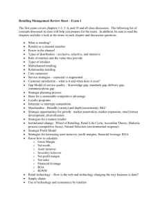 Retailing Management Review Sheet – Exam 1