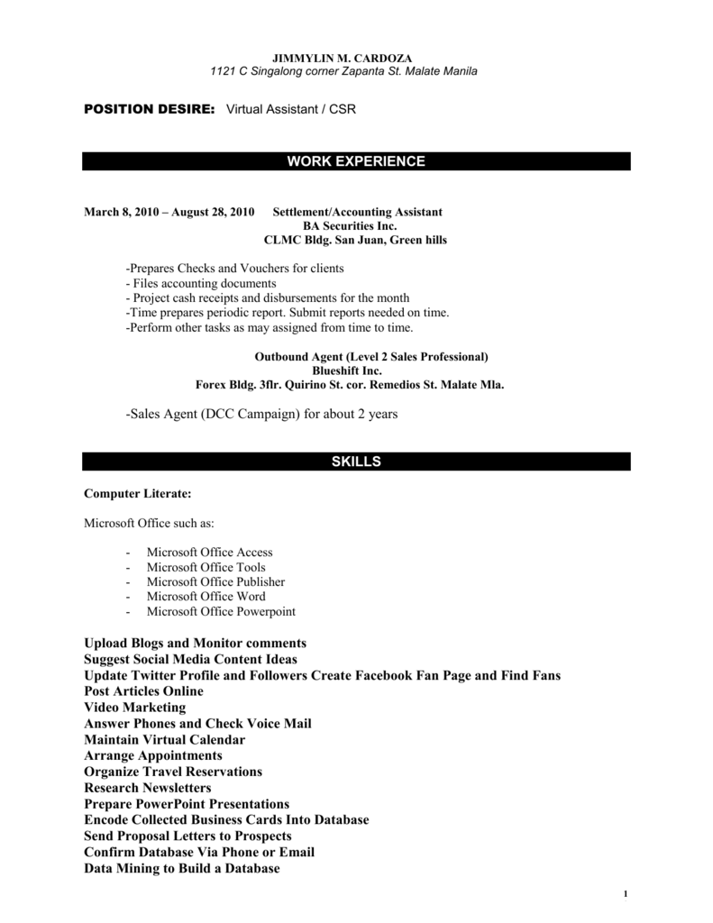 JRU Format Of Resume Sample