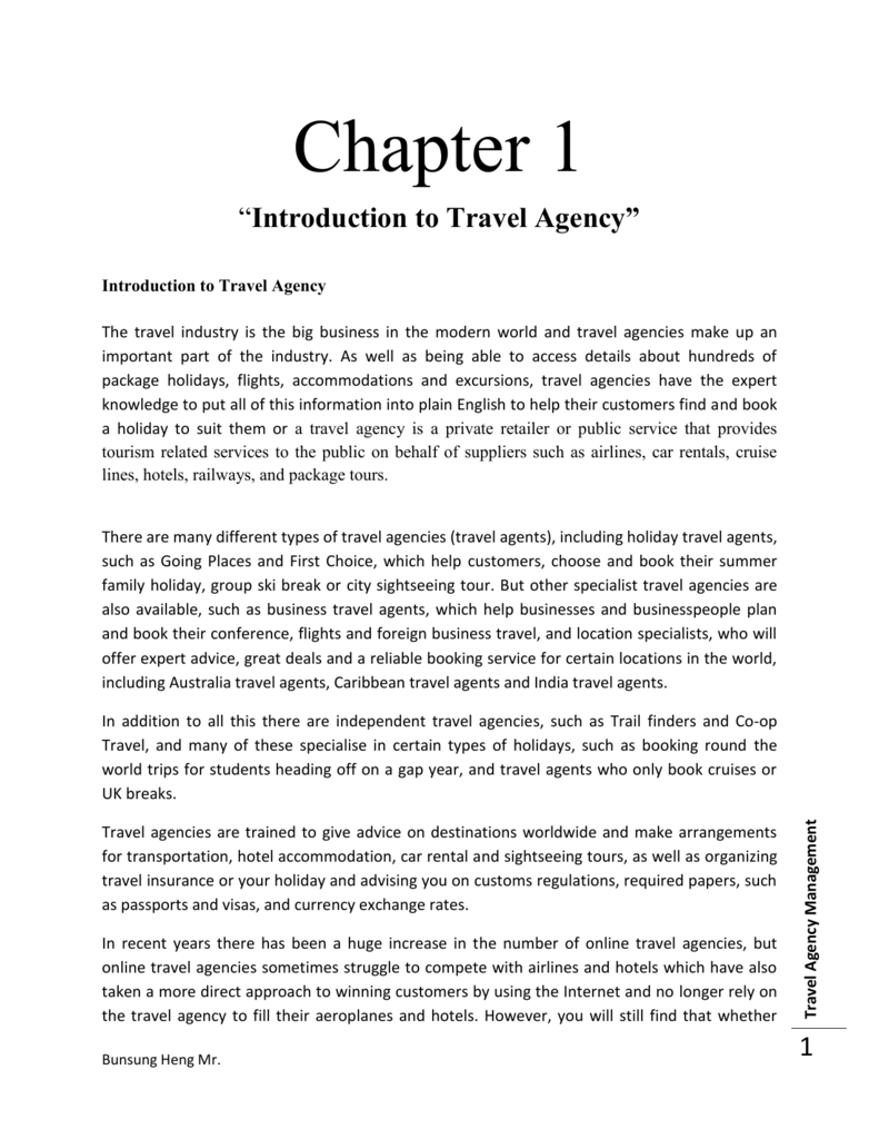 """Chapter 1 """"Introduction to Travel Agency"""" Introduction to Travel"""