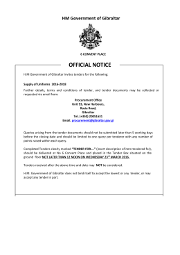 Tender Notice - Government of Gibraltar