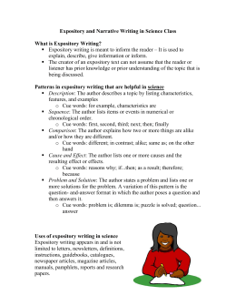 expository and narrative writing handout - te401-fs10