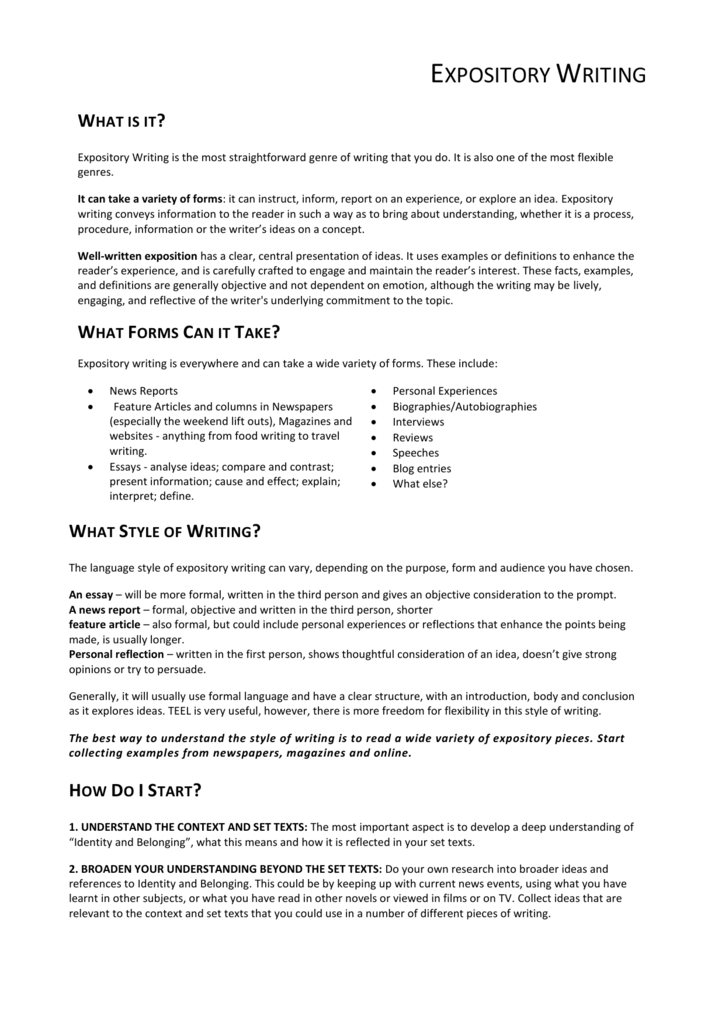 Expository Writing Handout Identity And Belonging