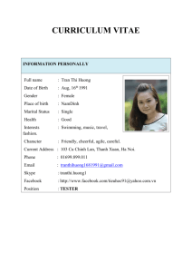 CURRICULUM VITAE INFORMATION PERSONALLY Full name
